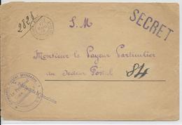 """1918 - BUREAU FRONTIERE F - NOISY LE SEC - ENVELOPPE FM  """"SECRET"""" ! + CENSURE SRA => SP 84 - Marcophilie (Lettres)"""