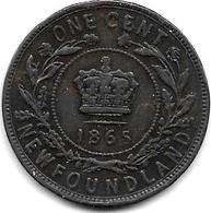 *New Foundland 1 Large  Cent 1865  Km 1  Vf - Canada