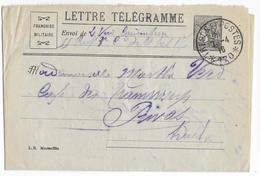 1916 - LETTRE TELEGRAMME FM MODELE RARE - Ed MARSEILLE - Du SP 170 => PRIVAS (ARDECHE) - Marcophilie (Lettres)