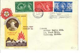 """GRAN BRETAGNA 1957 - SCOUT - FDC SPECIALE """"ROYAL VISIT AUGUST 3RD"""" - 1952-71 Ediciones Pre-Decimales"""