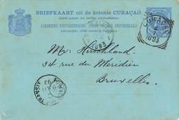 Entier Postal Curacao Cachet 1893 Antilles Neerlandaises Briefkaart Uit De Kolonie - Curaçao, Nederlandse Antillen, Aruba