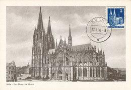 D38904 CARTE MAXIMUM CARD 1950 DEUTSCHE POST - KÖLN DOM COLOGNE CP ORIGINAL - Kerken En Kathedralen