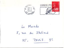 GARONNE / Hte - Dépt N° 31 = TOULOUSE GARE 1972 = FLAMME Codée à DROITE = SECAP Illustrée  'CODE POSTAL / MOT DE PASSE ' - Codice Postale