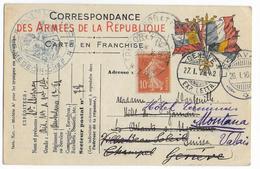 1916 - CARTE FM De L'AMBULANCE 12/21 Avec COMPLEMENT SEMEUSE => GENEVE (SUISSE) => MONTANA (VALAIS) ! - Marcophilie (Lettres)