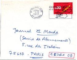 GARONNE / Hte - Dépt N° 31 = TOULOUSE GARE 1972 = FLAMME CONCORDANTE  = SECAP Illustrée  'CODE POSTAL / MOT DE PASSE ' - Codice Postale