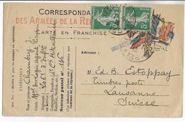 1916 - CARTE FM Du SP 136 Avec COMPLEMENT SEMEUSE + CENSURE => LAUSANNE (SUISSE) - Marcophilie (Lettres)