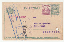 Schenker & Co. Fiume Company Perfin On Postal Stationery Posted 1918 To Sebenico (Šibenik) B200120 - Croacia