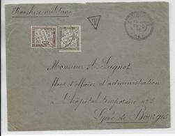 1916 - ENVELOPPE FM REFUSEE !! => TAXE De ENNORDRES (CHER) => HOPITAL TEMPORAIRE N°3 Du LYCEE De BOURGES - Marcophilie (Lettres)
