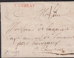 LETTRE DU  NORD AVEC GRIFFE DE CAMBRAI LAC 1766 TB - Marcofilie (Brieven)
