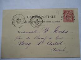 CONVOYEUR   PRIVAS  A  LIVRON     -    ANDANCE  ....          TTB - Storia Postale