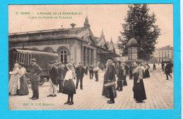 CPA GAND / GENT Entrée De La Gare Sud Et Place Du Comte De Flandre - Belle Anim /Edi Geanimeerd - Circul. 1907 - 2 Scans - Gent