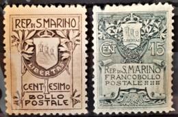 SAN MARINO 1907/10 - MLH - Sc# 78, 79 - 1c 15c - 79 Damaged On Upper Left Corner! - Unused Stamps