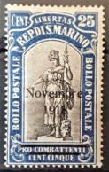 SAN MARINO 1918 - MLH - Sc# B13 - 25c - Unused Stamps