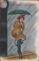 Humor Humour Woman Lady Femme Waiting Umbrella Parapluie Chapeau Hat Illustrator Illustrateur Carte Fantaisie CPA - Humor