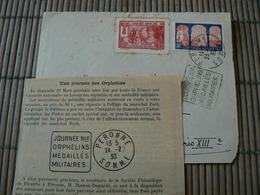 D114/ DEVANT DE LETTRE ORPHELINS DE GUERRE / 3 SCANS - Collections