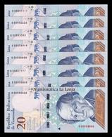 Venezuela Colección 8 Billetes 20 Bolívares 2018 Pick 104 Nice Serial SC UNC - Venezuela