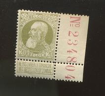 20c Avec Inscription Marginale  Ultra Fine Charnière. N° 75,- - 1905 Thick Beard