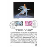 Encart Sur Papier Glacé - Championnats Du Monde De Patinage Sur Glace - 20/02/1971 - Documents De La Poste