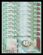 Venezuela Colección 9 Billetes 2 Bolívares 2018 Pick 101 Nice Serial SC UNC - Venezuela