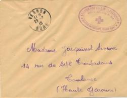 """Cachet """" HOPITAL AUXILIAIRE N°204 CHATEAU DES PÉNITENTS VERNON EURE """" Sur Lettre FM - CROIX-ROUGE 29/7/15 - Marcophilie (Lettres)"""