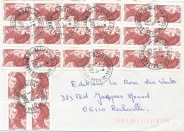 """LIBERTÉ DE GANDON 0.10 22 Pièces Sur Lettre Obl """" BEZIERS HOTEL DE VILLE HERAULT 1/6/87 - 1982-90 Liberté De Gandon"""
