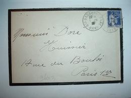 LETTRE TP PAIX 65c OBL.1-5 38 STE GAUBURE GARE ORNE (61) - Marcophilie (Lettres)