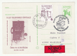 75 Anniversary Telephone Centrale Črna Na Koroškem Illustrated Postal Stationery Postcard Posted 1995 B200120 - Slovenië