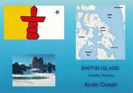 1 AK Canada / Nunavut * Flagge Von Nunavut, Landkarte Von Baffin Island Und Eine Landschaft Von Nunavut * - Nunavut