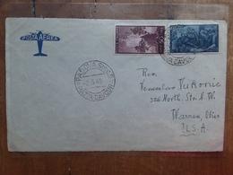 REPUBBLICA 1949 - Risorgimento Lire 100 Spedito Negli U.S.A. (solo Frontespizio Busta) + Spedizione Prioritaria - 6. 1946-.. Republic