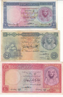 EGYPT 1 5 10 EGP POUNDS 1957 1958 P-30 P-31 P-32 Sig/EMARII #10 LOT VF */* - Egypt