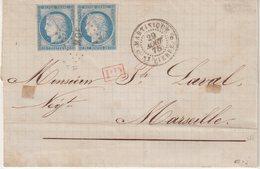 """COLONIES GENERALES : N° 23 . PAIRE . OBL . """" MQU """" . DE ST PIERRE . POUR MARSEILLE . TB . 1875 . SIGNE . LST . - Ceres"""