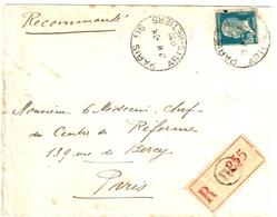 PARIS 116 Arts-et-Métiers Lettre Recommandée 1,50 F Pasteur Bleu Yv 181 Ob 1930 Type Horoplan Des Pneumatiques - Marcophilie (Lettres)