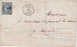 """FRANCE : PC 2996 . """" ST AULNAY """" . (23) . N° 4 . ET CAD T15 . B . 1852 . - Postmark Collection (Covers)"""