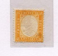 1320 A - Regno D'Italia - 80 C. Giallo Arancio Anno 1862 - Tipo Metraire - 1861-78 Vittorio Emanuele II