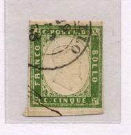 1364 - Regno Di Sardegna - 5 C Verde - Anno 1855 - Sardegna