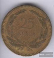 Turkey 886 1956 Very Fine Brass Very Fine 1956 25 Kurus Sickle Moon And Star - Turquia