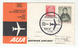 Austria 1964 Erster Caravelleflug Wien-Dubrovnik-Athen AUA First Flight Cover B200120 - Airplanes