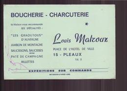 """Carte De Visite """" Louis Malroux """" Boucherie-Charcuterie à Pleaux - Cartes De Visite"""