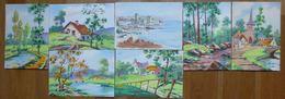 LOT 6 CARTES POCHOIR - PAYSAGES DE NATURE DONT 4 SIGNEES SIM - Postcards