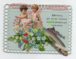 CARTE 1er AVRIL - 1909 - DECOUPIS - AJOUREE - 2 ANGES SUR UN POISSON  - BOUQUET DE FLEURS DU MUGUET ET MIOSOTIS - 1er Avril - Poisson D'avril