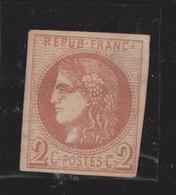 France Timbre Cérès 2 Centimes Neuf Sur Charnière YT 40 Report 2 (?) Emission De Bordeaux Gouvernement Provisoire 1870 - 1870 Bordeaux Printing