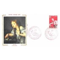 FDC Soie - Croix-Rouge - Tableau De Greuze - 11/12/1971 Sainte-Suzanne - 1970-1979