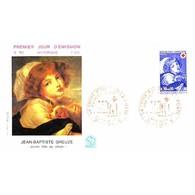 FDC - Croix-Rouge - Tableau Greuze, Jeune Fille Au Chien - 11/12/1971 Tournus - 1970-1979