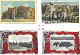 4 POSTCARDS HIGH SCHOOL MONCTON, N.B. PANSY PATCH, ST. ANDREWS N.B. BRITISH SAILORS & REGIMENT ON PARADE HALIFAX N.S. - Halifax