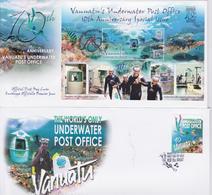 Vanuatu Underwater Post Office Lot Of 2 FDC's 2003-2013 Diving Enveloppe Premier Jour Timbres Plongée Sous-Marine Issue - Vanuatu (1980-...)