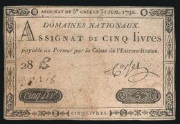 ASSIGNAT DE CINQ LIVRES  1792 - Assignats & Mandats Territoriaux