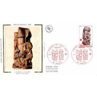 FDC Soie - Croix-Rouge (2116) - Stalles De La Cathédrale D'Amiens - 6/12/1980 - 1980-1989