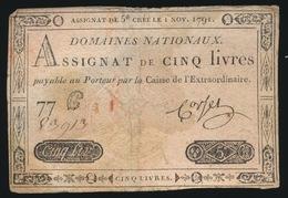 ASSIGNAT DE CINQ LIVRES  1791 - Assegnati