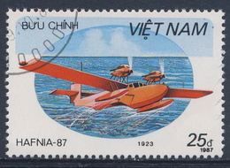 """Vietnam 1987 Mi 1864 YT 838  SG 1140 Used - Flying Boat (1923) - Rohrbach Ro II - """"Hafnia 87"""" Int. Stamp Exhibition. - Airplanes"""