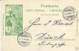 31, Entier Postal Pour Jubilé Fondation UPU, Obl. La Chaux-de-Fonds 31-XII.1900, Cachet Arr. Zürich 2.I.01 - Entiers Postaux